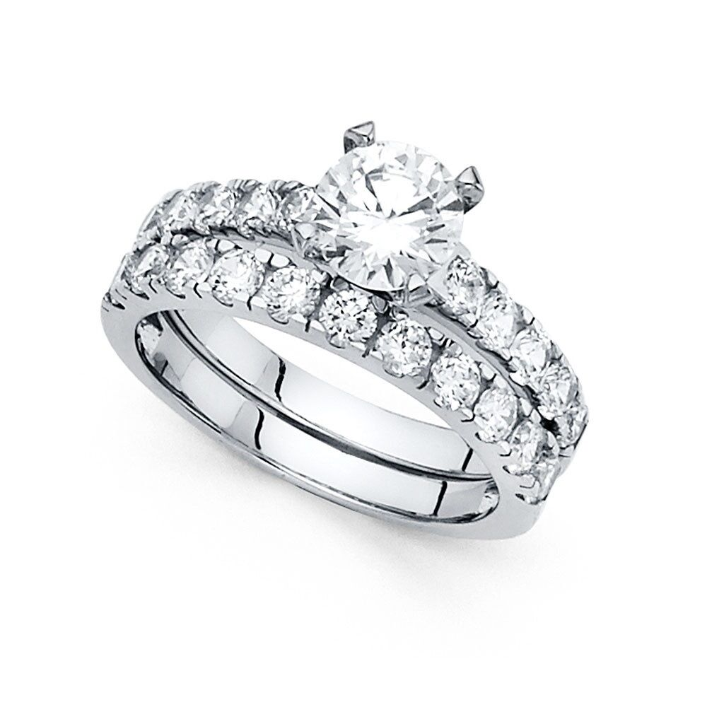 14k Yellow Or White Gold Cz Engagement Ring Wedding Band Solitaire Cz Ring Set Ebay