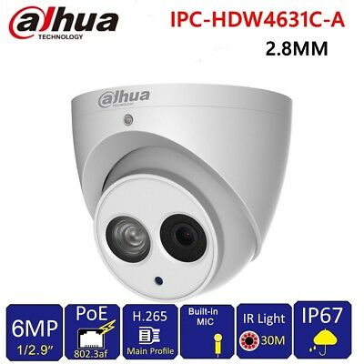 Built In Camera - Dahua 6MP POE Built-in Mic IPC-HDW4631C-A Metal Dome Security IP Camera 2.8mm