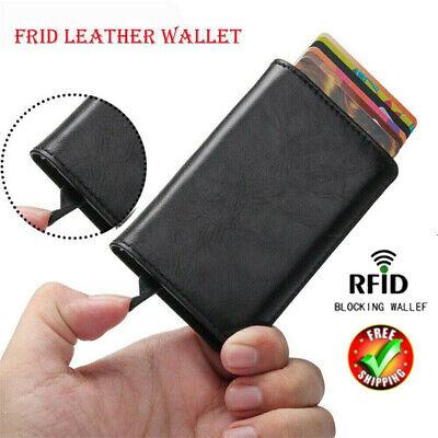 Auto Credit Card Holder Leather RFID Blocking Metal Wallet Money Clip for Men UK