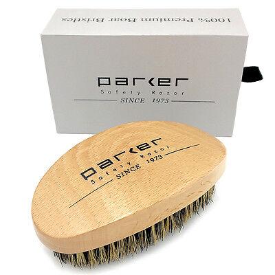 Handle Beard Brush - Parker Premium Boar Bristle Beard & Hair Brush with Beechwood Contoured Handle