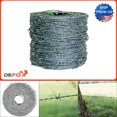 Durable Barbed Wire Fence 1320 Ft 15.5 Gauge 4 Point High Tensile Galvanized Cl3