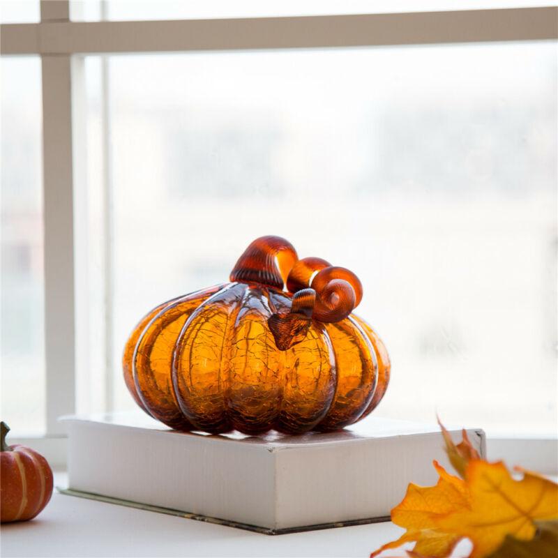 "Glitzhome 6"" Amber Crackle Glass Pumpkin Fall Harvest Halloween Home Table Decor"