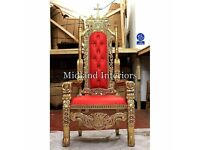 NEW Crucifix King Throne Chair (175cm) Gold leaf Wedding Queen French Ornate Asian Antique Church