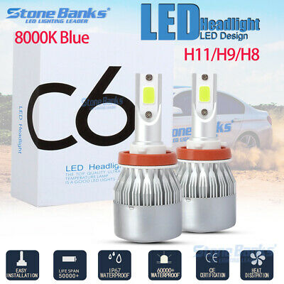 H11 LED Headlight Conversion Kit Lamp 20000LM High Low Beam Bulbs 8000K ICE Blue - Led Ice