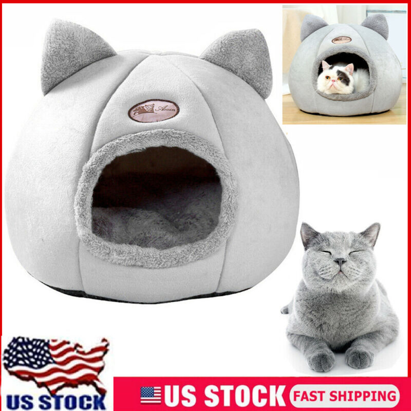 Cat Cave Bed Pet Dog Puppy Kitten Indoor Cozy House Bed Warm Winter Nest Kennel