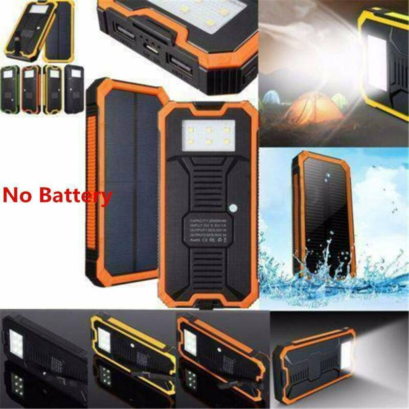 50000mAh 2 USB Solar Power Bank Waterproof LED Battery Charg