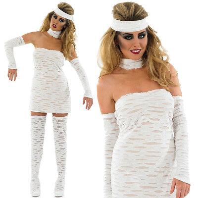 LADIES SEXY MUMMY COSTUME DEAD EGYPTIAN HALLOWEEN FANCY DRESS WOMEN'S - Egyptian Mummy Halloween Costumes