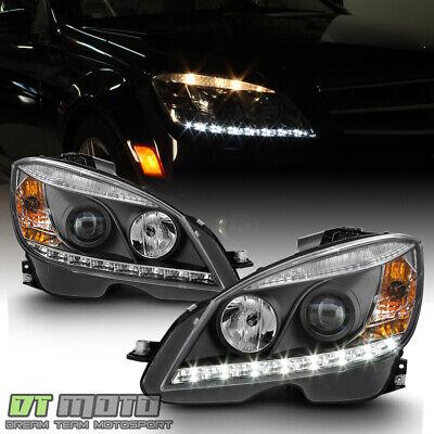 Blk 2008-2011 Mercedes Benz W204 C-Class LED DRL Projector Headlights Left+Right