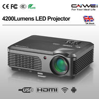Caiwei Android Wifi Pc Projector Hd 1080p Online Tv Game Movie Hdmi Usb 4200lms - caiwei - ebay.co.uk