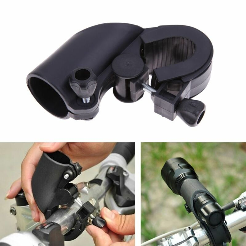 360° Rotate Bike Bicycle Flashlight Mount Clip Lamp Light Torch Rack Holder S