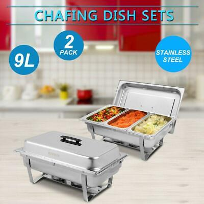 2pack Chafing Dish Buffet Chafer Set 9l 8quart Stainless Steels Party