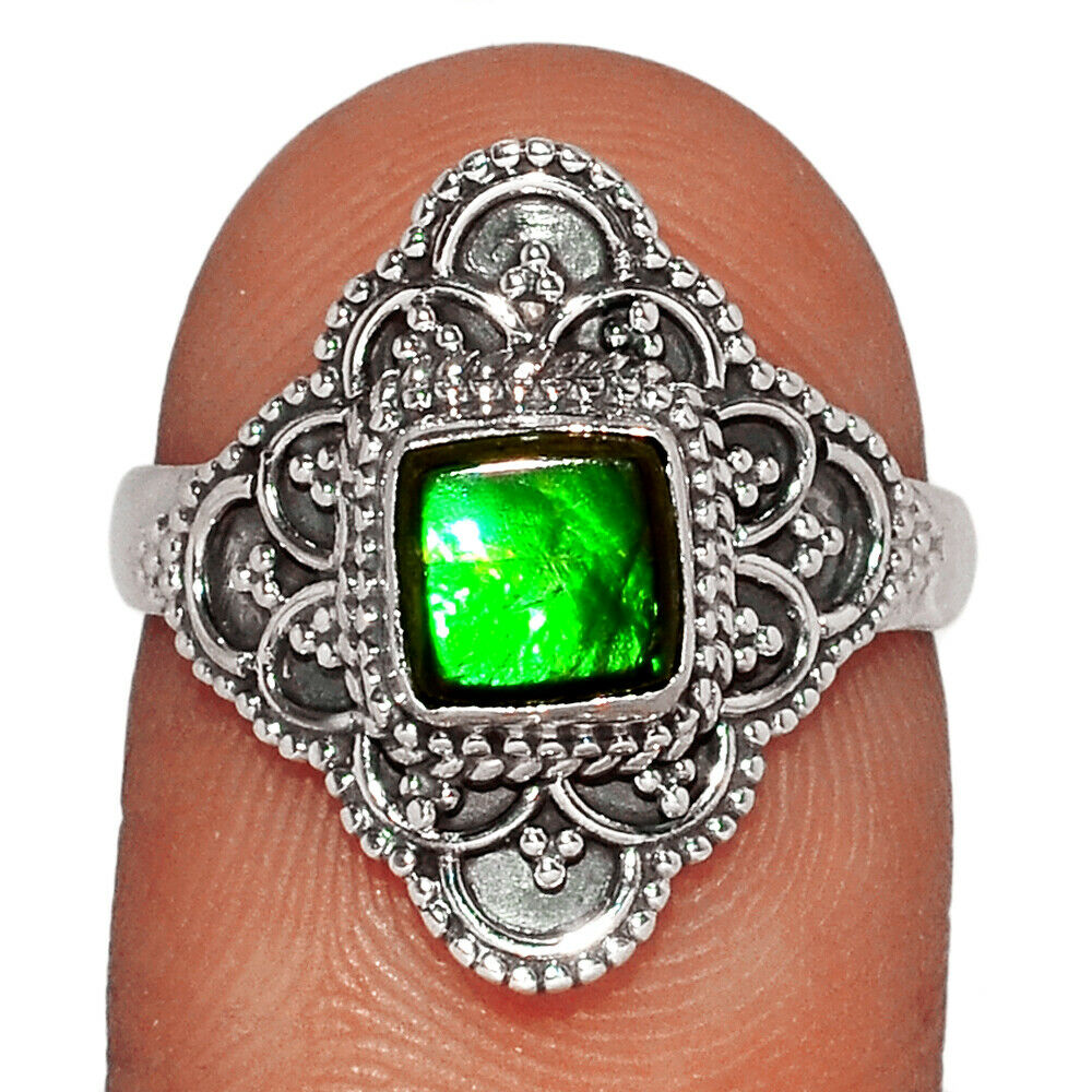 Genuine Canadian Ammolite 925 Silver Ring Jewelry S.6.5 BR28604 220G - $13.99