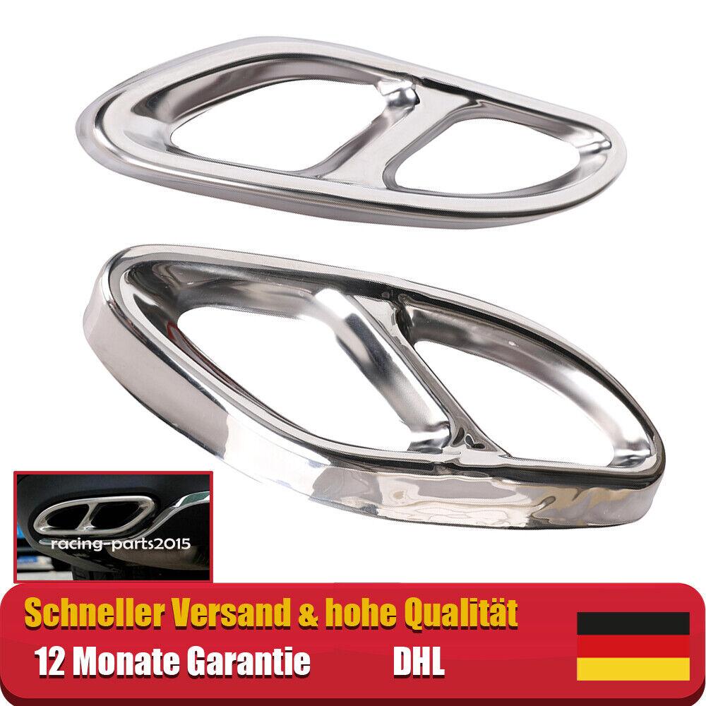 V8 Look Chrome Auspuffblenden für Mercedes A B C E CLA W205 W212 C117 GLE ML