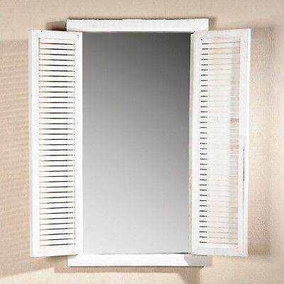 72CM Wandspiegel mit Fensterladen + Ablage im Shabby Chic weiß Holz Spiegel - Shabby Chic Schlafzimmer