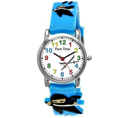 3d Ninja Jungen Kinder Uhr Jungenuhr Kinderuhr Hellblau Blau Lernuhr Kostüm