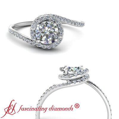 1.25 Carat Round Cut Diamond Bypass Halo Engagement Ring For Women In White Gold