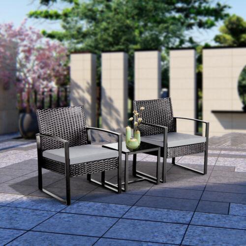 Garden Furniture - Rattan Garden Furniture Set 3 Pcs Wicker Patio Set Table Chairs W/Cushion,Black