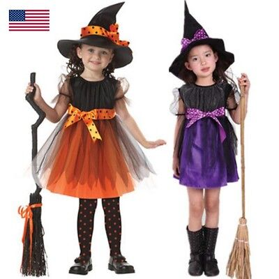 Toddler Kids Baby Girls Halloween Costume Witch Clothes Party Dresses+Hat - Toddler Halloween Witch Costume