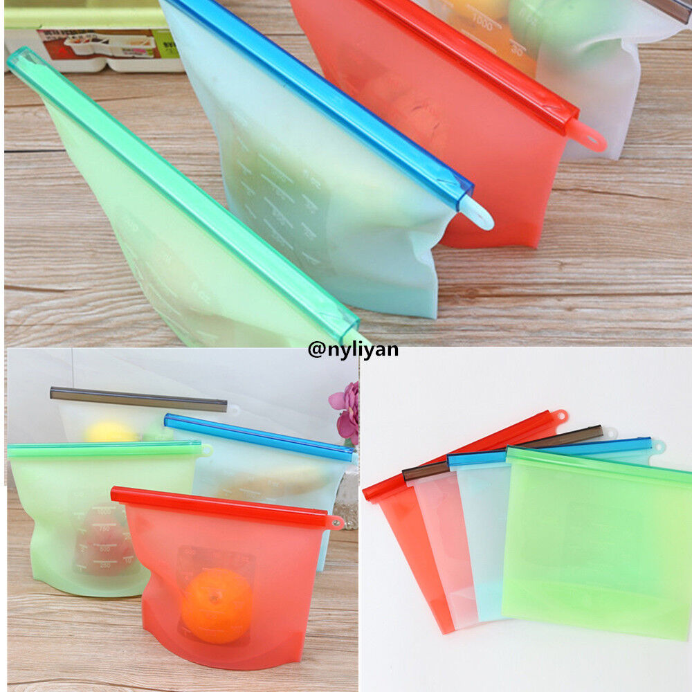 Sealable Silicone Food Storage Preservation Bags Freeze Stea