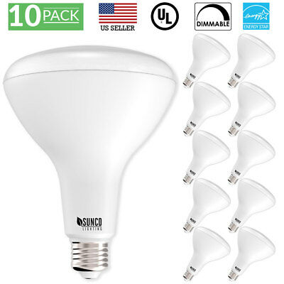 - SUNCO 10 PACK BR40 FLOOD LED LIGHT BULB 17W 1400 LUMEN 5000k DAYLIGHT DIMMABLE