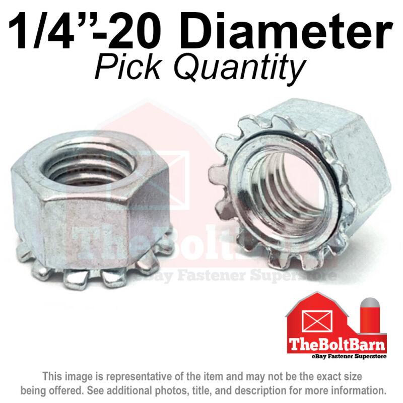 """1/4""""-20 K Lock Hex Lock Nuts Keps Zinc Plated COARSE Thread (Pick Quantity)"""