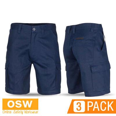 Cargo Slant Pockets Shorts - 3 X MENS TRADIES CONSTRUCTION NAVY MID-WEIGHT SLANTED POCKET CARGO WORK SHORTS