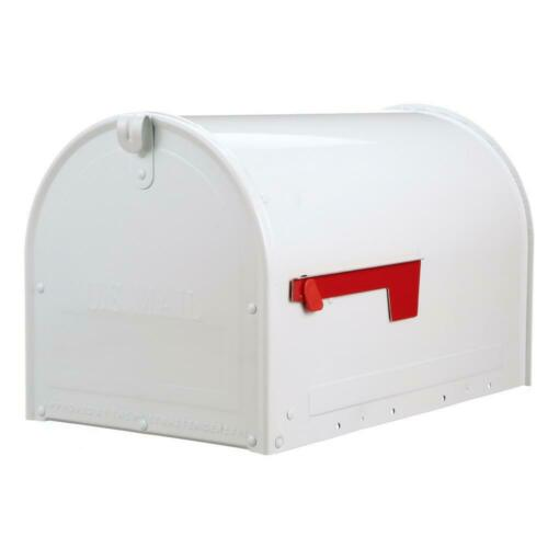 Locking Mailbox Large Galvanized Steel White Post Mount Prevent Mail Theft