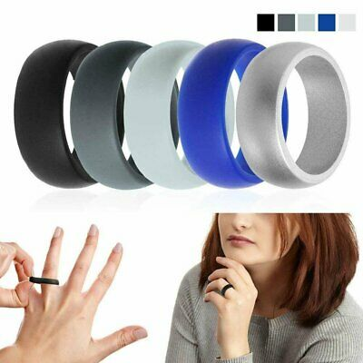 Silicone Wedding Engagement Ring Men Women Rubber Band Gym Sport Flexible Bands without Stones