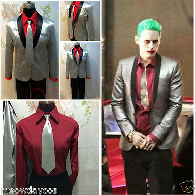 Suicide Squad The Joker Costume Cosplay Suit Silver Jacket Coat Psychos Killers ](Silver Suit Costume)