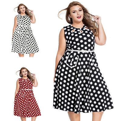 ILAVO® Plus Size Polka Dots Kleid Sommerkleid inkl. Gürtel L XL XXL 2XL 3XL PS01