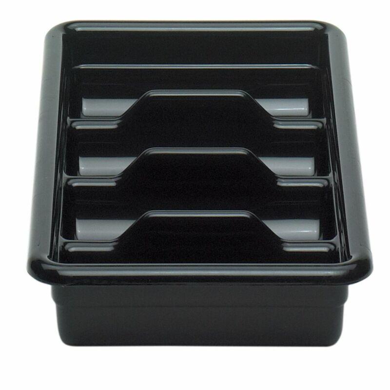 Cambro 1120CBP110 Black Poly 4-Compartment Cutlery Cambox