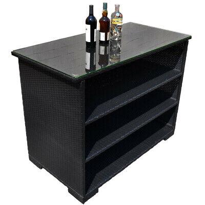 Outdoor Buffet Table (Indoor And Outdoor Wicker Rattan Bar Buffet Serving Table Black)