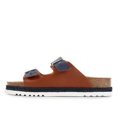 Scholl Olympe Navy Blue Tan Leather Schuhe Sandalen Pantoletten Blau Braun Navy Blue Sandalen