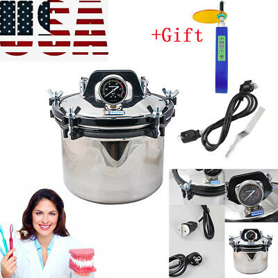 Stainless Steel Dental High-pressure Steam Sterilizer Dual Heating Scale Tool Us