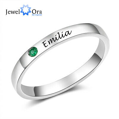 Customs For Women (Personalized Women Ring Custom Birthstone Engraved Name 925 Sterling Silver)