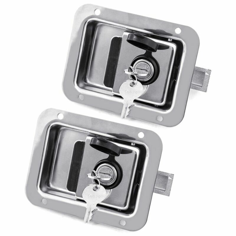 2 Sets Stainless Steel Trailer Paddle Door Lock Latch Handle RV Truck Tool Box