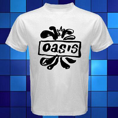 New Oasis British Rock Band Logo White T-Shirt Size S M L XL 2XL 3XL ()