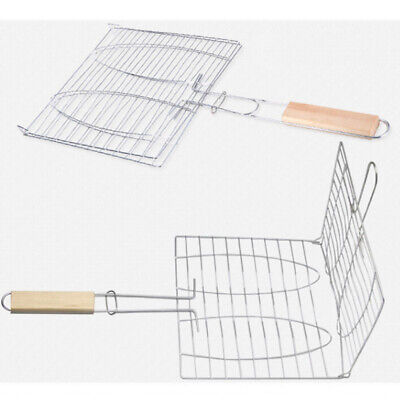 BBQ Grill Mesh Net Grid Basket Outdoor Cooking Roast Tool Grilling Meat Fish UK