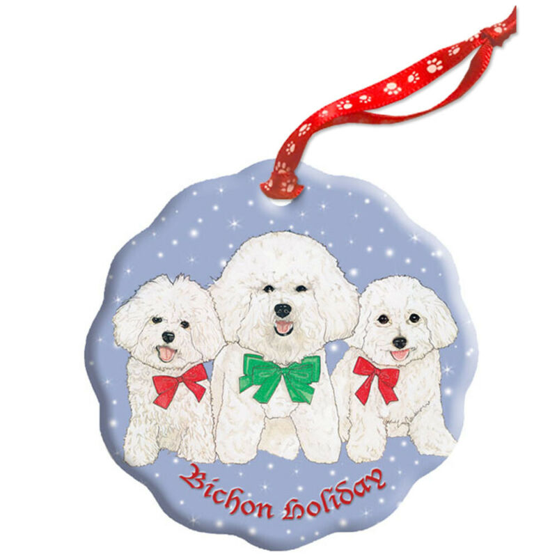 Bichon Frise Holiday Porcelain Christmas Tree Ornament