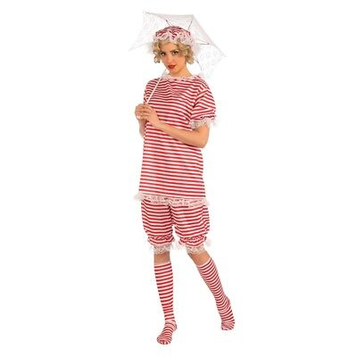 Red Stripe Ladies Beachside Bettie Retro Bathing Suit Costume - Fancy Dress](1950s Gangster Halloween Costumes)