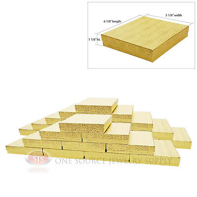 Large 25 Gold Foil Cotton Filled Jewelry Gift Boxes 6 18 X 5 18 X 1 18h