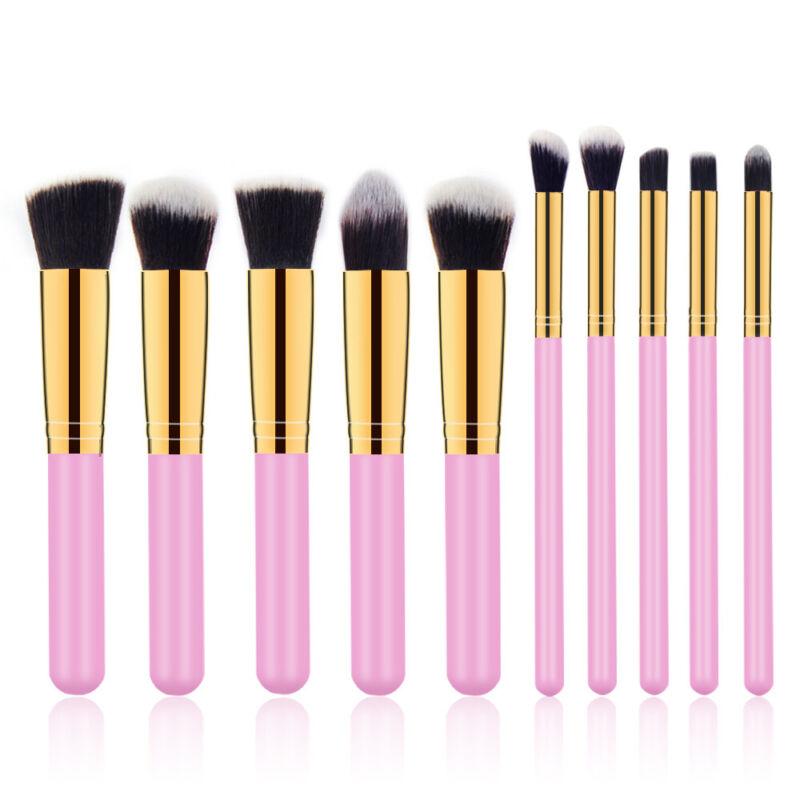 10Pcs Cosmetic Makeup Brush Tools Beauty Contour Foundation Face Kabuki Brushes