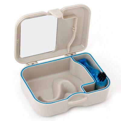 Denture Storage Case Mirror & Brush Dental Appliance Box, Cleaning Bath New