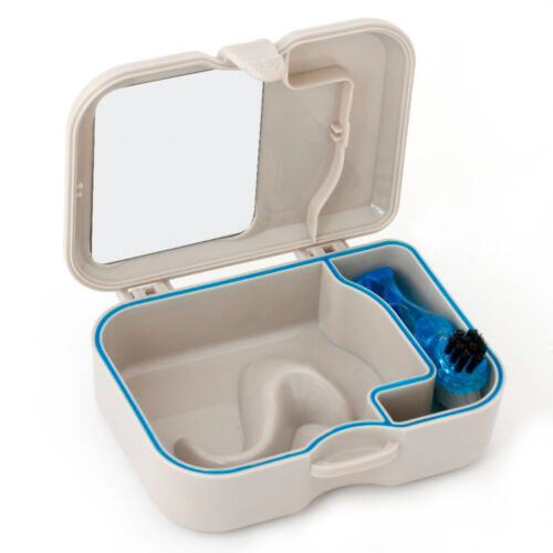 Denture Storage Case Mirror & Brush Dental Appliance Box, Cleaning Bath New Health & Beauty