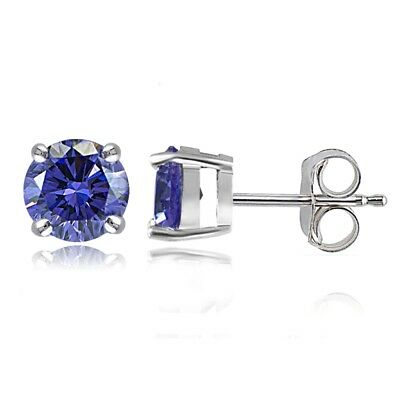 Sterling Silver Violet Stud Earrings  Made with Swarovski Crystals