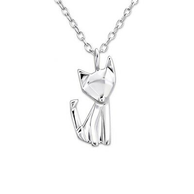 925 Sterling Silver Fox Necklace Origami Art Dainty Chain, What Does the Fox Say