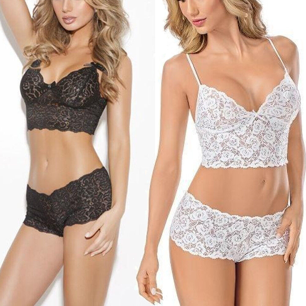 a5476eb3e82b3 Details about Women Lady Sexy Lingerie Corset Lace Push Up Vest Top  Bra+Pant Set Underwear Hot