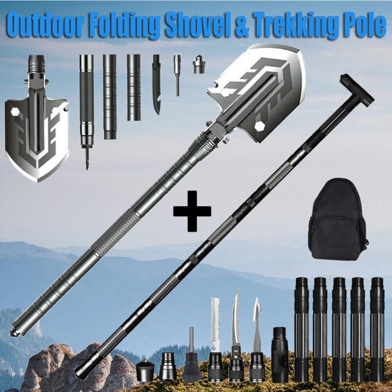 Multi-Functional Folding Shovel Trekking Pole Survival Gear Outdoor Tactical Set