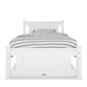 Luxo Akoni Solid Pine Timber Single Bed Frame - White