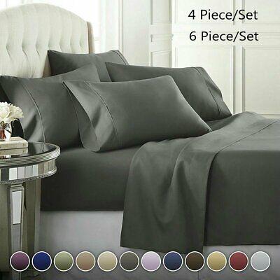 6/4 Piece Comfort 1800 Thread Count Deep Pocket Bed Sheet Set sL